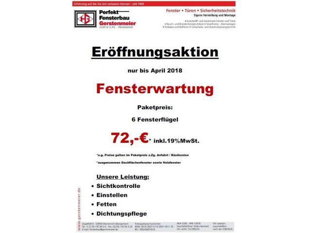 Wartungsaktion bei Fensterbau Gerstenmeier